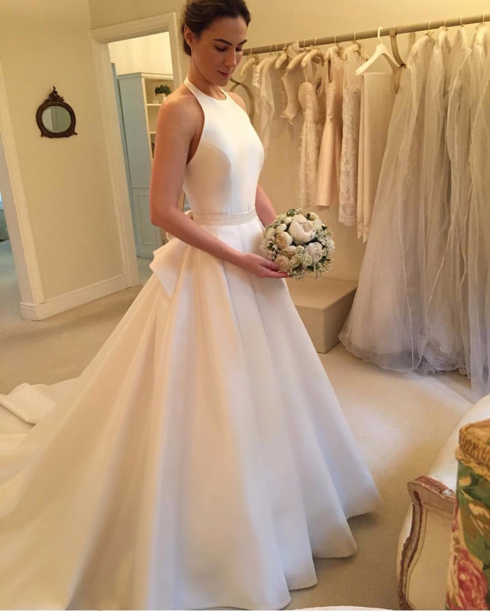 Satin Halter Neck Floor Length Wedding Gown Featuring Bow Accent ...